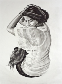 """*SOLD Charcoal wash on cold-press watercolor paper 18""""x24"""""""