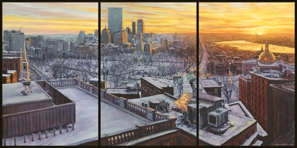 "*SOLD Triptych oil on claybord 30""x60"""